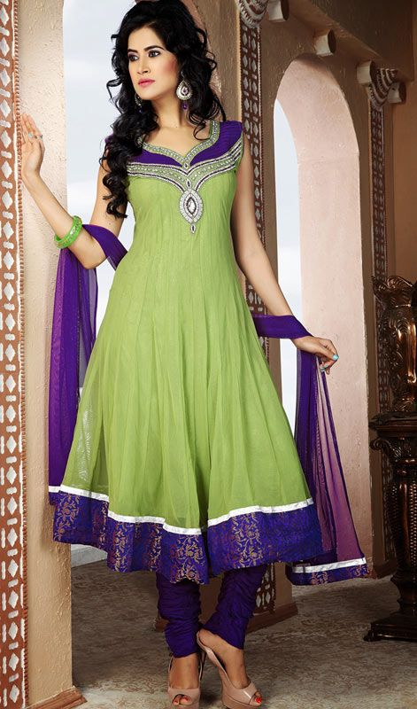 Fashion and style always depends on good color and fantastic combination of shades. We create best shades to enhance your beauty and personality. Keep ahead in fashion with this fascinating embroidered green & purple net salwar kameez chudidar kurta in plus size. Kurta is encrafted with beads, lace & thread work. #PlussizeDress