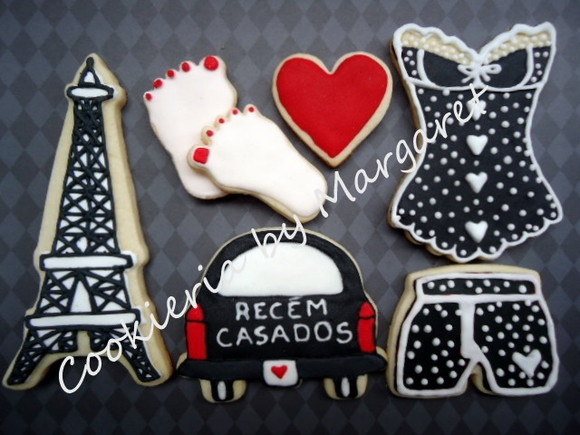 Kit Cookies Decorados Lua de Mel em Paris com Torre Eiffel