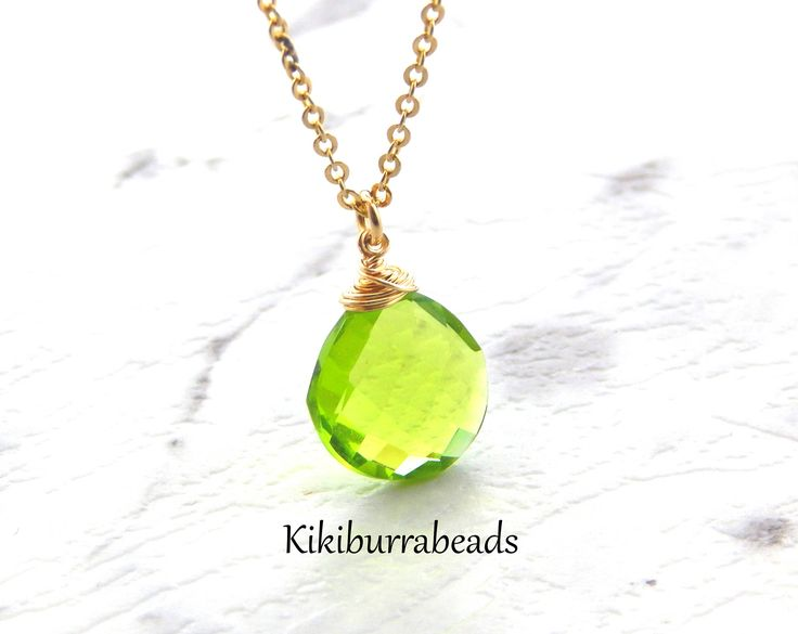 Peridot Necklace, August Birthstone Necklace, Gold Filled Necklace, Solitaire Necklace, Layering Necklace, Gemstone Jewelry by Kikiburrabeads on Etsy