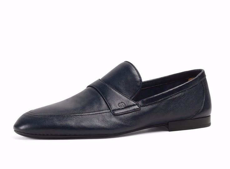 NIB Gucci Mens Unlined Navy Blue Leather Slip-on Loafers - 9 US   #Gucci #LoafersSlipOns