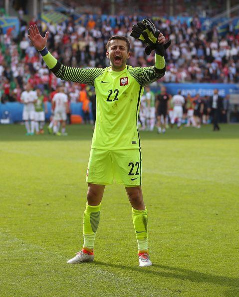 #EURO2016 Lukasz Fabianski of Poland celebrates the win after the UEFA EURO 2016 Round of 16 match between Switzerland v Poland at Stade GeoffroyGuichard on...