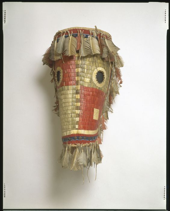 Culture/People: Northern Tsitsistas/Suhtai (Cheyenne)  Object name: Horse mask  Date created: 1840-1860  Place: Montana; USA (inferred)  Media/Materials: Deerhide/deerskin, porcupine quills, feather/feathers, dye/dyes  Techniques: Quilled (lane stitched)