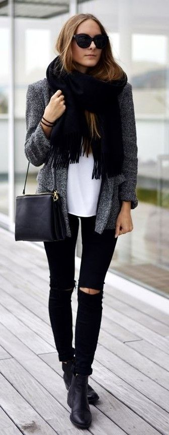 scarf + jacket + white shirt + black ripped jeans