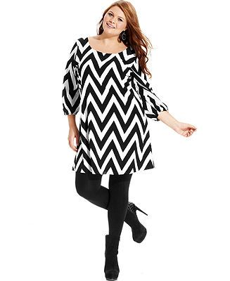 ING Plus Size Dress, Three-Quarter-Sleeve Chevron-Print - Plus Size Dresses - Plus Sizes - Macy's
