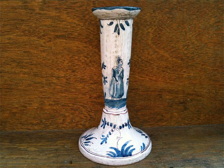 Antique English blue white candle holder stick woman circa 1910's Purchase in store here http://www.europeanvintageemporium.com/product/antique-english-blue-white-candle-holder-stick-woman-circa-1910s/