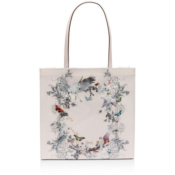 Ted Baker Lelacon Enchanted Dream Large Icon Tote ($59) ❤ liked on Polyvore featuring bags, handbags, tote bags, ted baker handbags, white tote, white hand bags, ted baker tote and tote bag purse