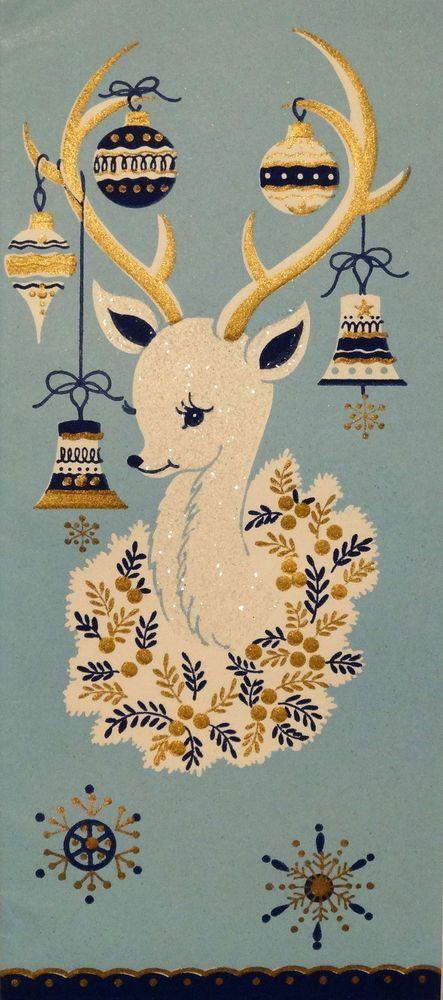 50s Glittered Mid Century White Deer-Vintage Christmas Card-Greeting