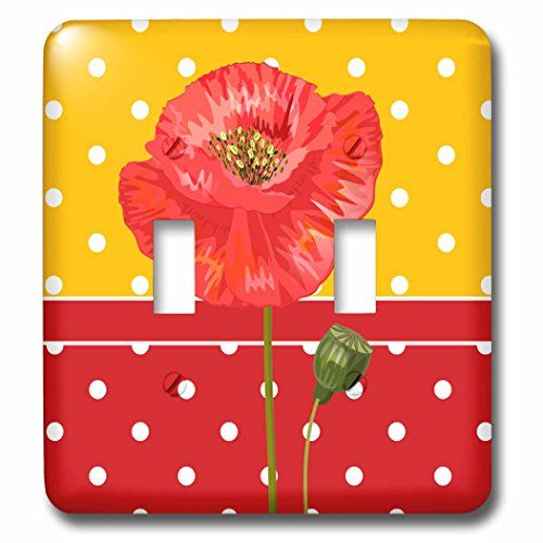 Doreen Erhardt Floral  Red and Yellow Polka Dots with a Single Red Poppy  Light Switch Covers  double toggle switch lsp_244654_2 *** Check this awesome product by going to the link at the image.
