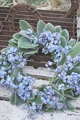 Forget-me-not, Lamb's Ear wedding wreath | sage green and periwinkle