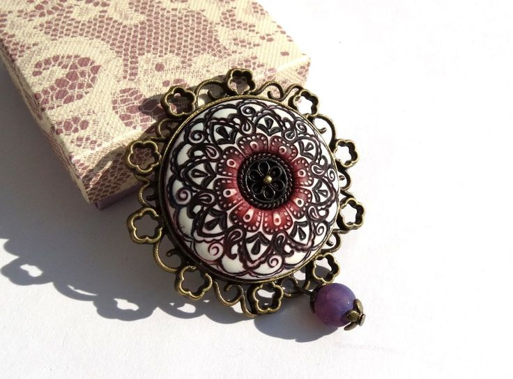 Brooch: polymer clay and alcohol inks