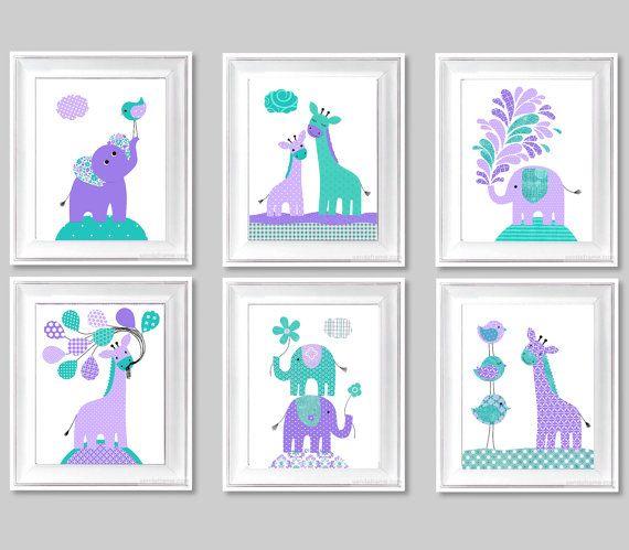 Giraffe Nursery Art Prints Elephant Nursery by SweetPeaNurseryArt