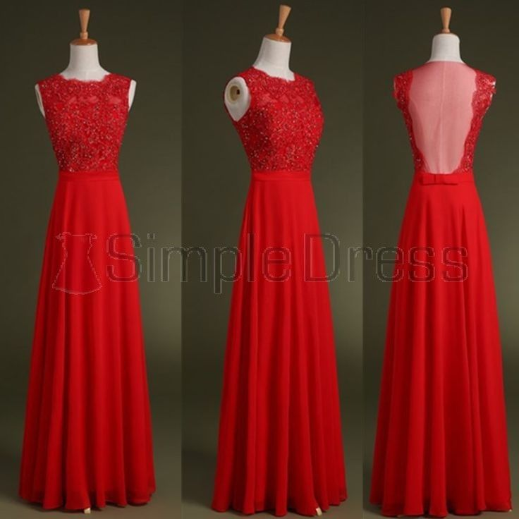 Simple Dress Elegant A-line Beading Long Red Chiffon Prom Dresses CHPD-7141