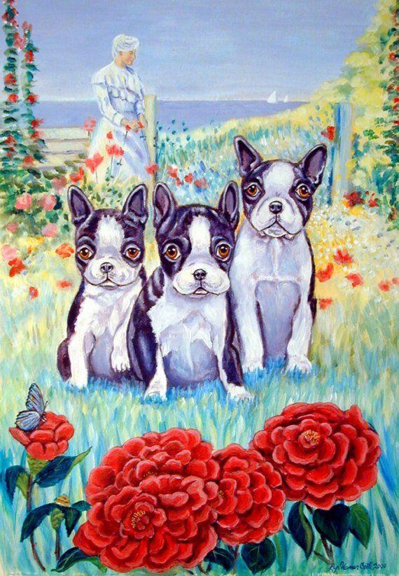 Boston Terrier Giclee Art Print Size 8x10 On By DogArtByLyn, $19.94