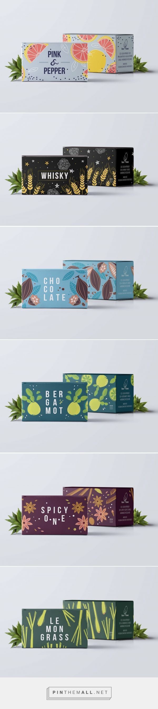Candles by Anna Sztromwasser. Source: Behance. Pin curated by #SFields99 #packaging #design #inspiration #box #texture #typography: