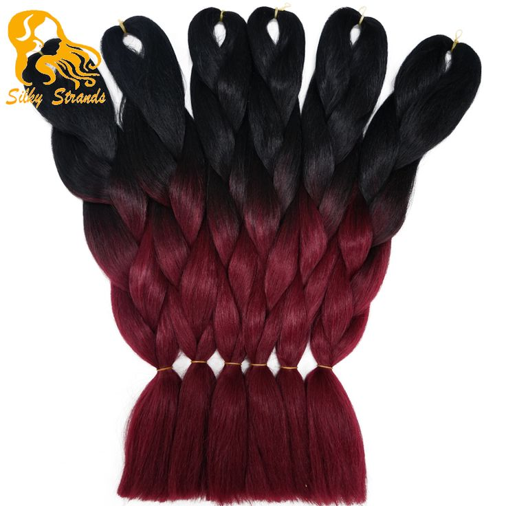 Ombre Burgundy Kanekalon Jumbo Braiding Hair Colors 24''100g Synthetic Wine Red African Braiding Hair Two Tone styles