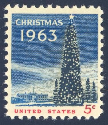 United States 1963 Christmas Stamp - this second United States Christmas stamp was based on an on-the-spot painting made by artist Lily Spandorf of President John F. Kennedy lighting the National Christmas tree. The National Christmas tree and the White House are depicted.