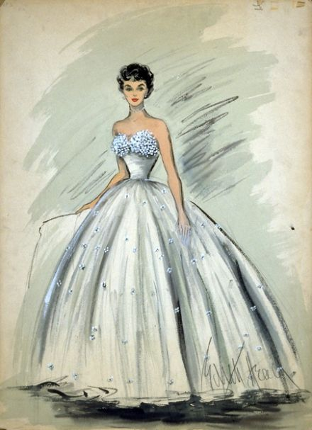 """Edith Head : Sketch of Elizabeth Taylor's dress in """"A Place in the Sun"""", 1951"""