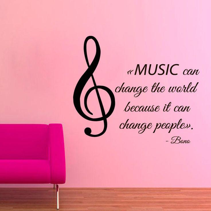 La musica puede cambiar el mundo porque puede cambiar la persona    Music Quote by Bono U2 Sticker Vinyl Wall Art