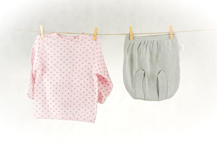 Regalos y canastillas para recién nacidos - Little Baby Born - Maletín Estrellas Rosas para niña recién nacida - Conjunto braguita y camiseta manga larga