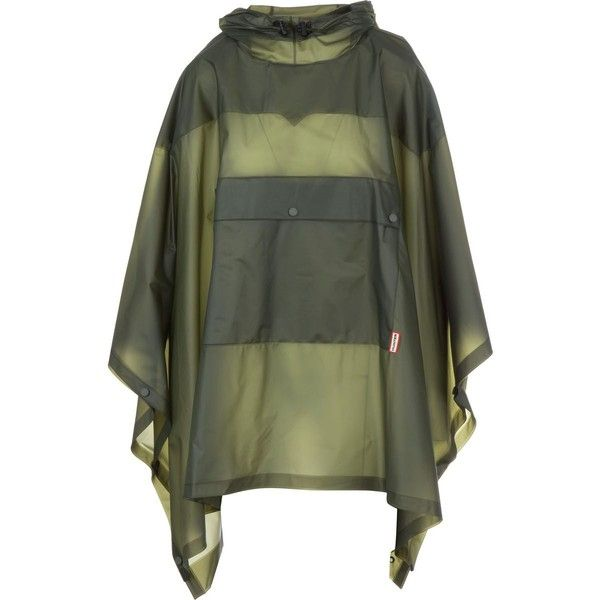 Hunter Boot Original Vinyl Poncho (£150) ❤ liked on Polyvore featuring outerwear, hooded poncho, green poncho and waterproof poncho