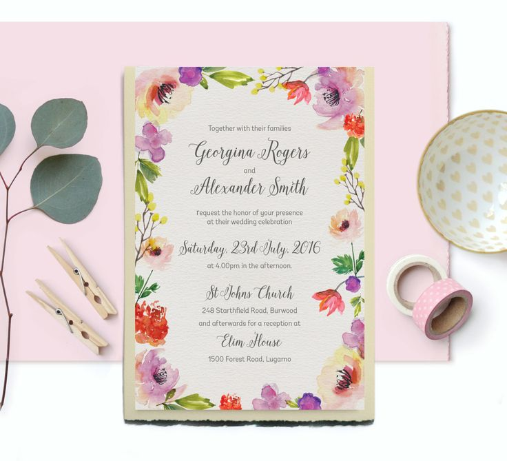 DIY Wedding Invitation | Instant Download | Watercolor Wedding Invitation | Printable Wedding Invitations | Floral Wedding Invites by SmudgeCreativeDesign on Etsy