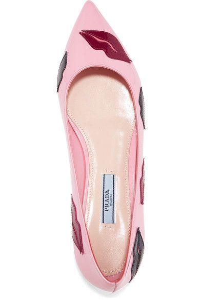 Prada - Appliquéd Patent-leather Point-toe Flats - Baby pink - IT37.5