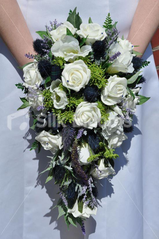 Ivory Rose & Navy Thistle Scottish Wedding Bridal Bouquet