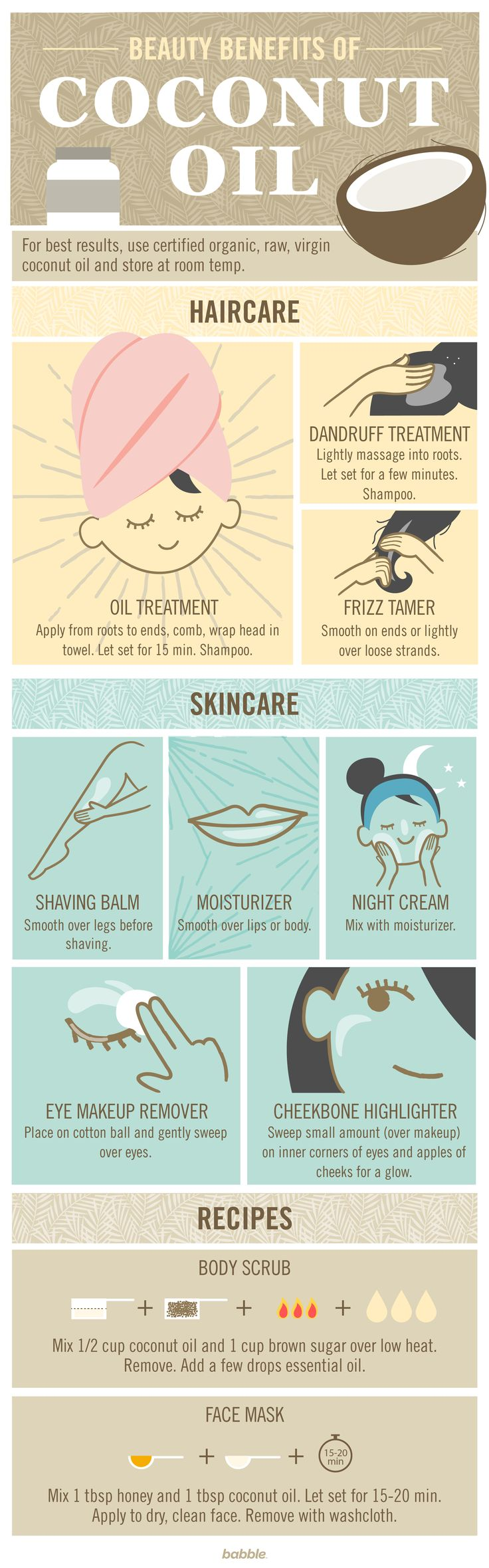 Coconut oil is everywhere right now. You don't know whether to eat it, drink it, or bathe in it. Try these great beauty uses for coconut oil tonight, from skincare to haircare to DIY beauty products.