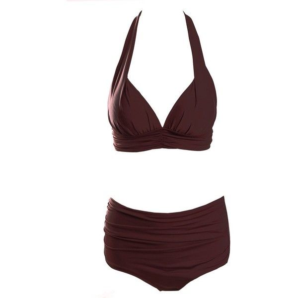 Surenow Fold Retro 50s Halter Bathing Suits High Waist Bikini Carnival... ($21) ❤ liked on Polyvore featuring swimwear, bikinis, high waist bikini swimsuit, halter top swimsuit, halter bikini, retro high waisted swimsuits and swimsuit tops