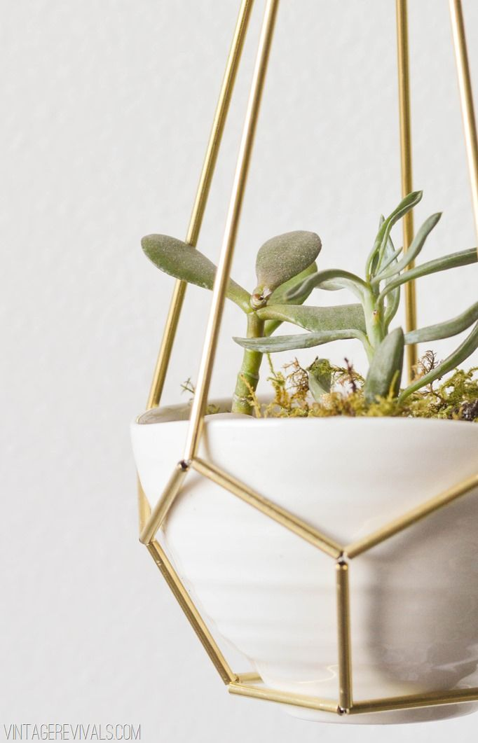 diy geometric brass + leather hanging succulent planter
