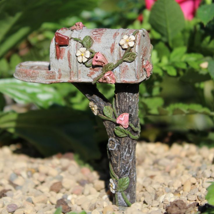 Wholesale Fairy Gardens Miniature Fairy Garden Country Mailbox Resin Measures 2 1/2 inches high plus 2 inch pick. Brand New Flowering vine covered mailbox.