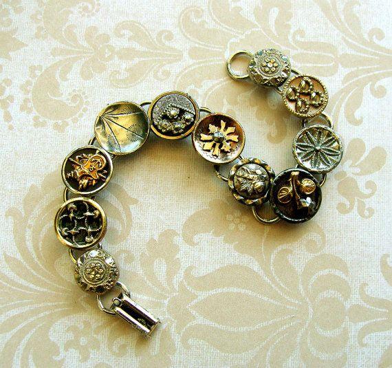 Antique Fancy Button Bracelet Victorian buttons silver by Smoochys, $60.00