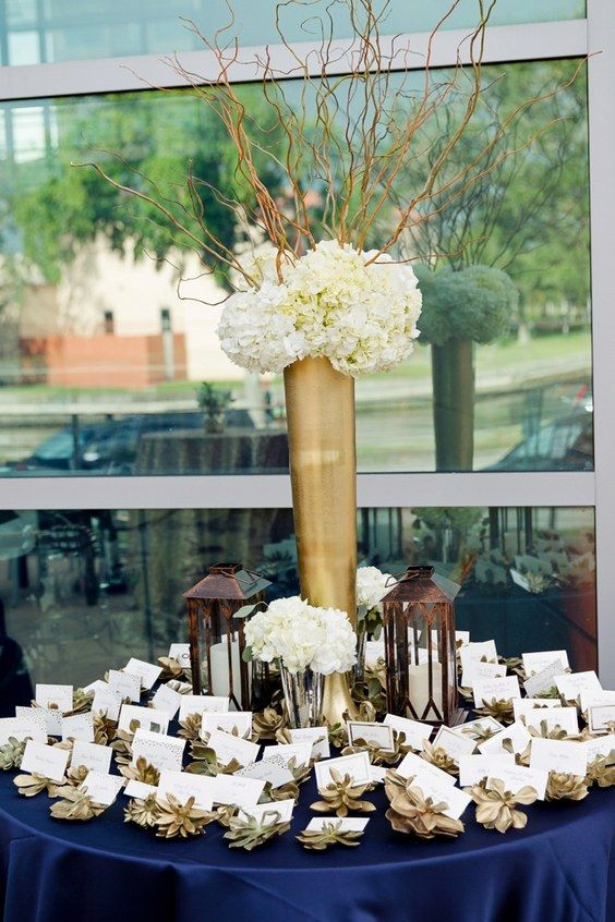 navy and gold wedding escort card decor /  / http://www.himisspuff.com/navy-blue-and-gold-wedding-ideas/5/