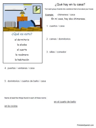 Preposition In Learn In Marathi All Complate: Printable Spanish FREEBIE Of The Day: ¿Qué Hay En Tu Casa