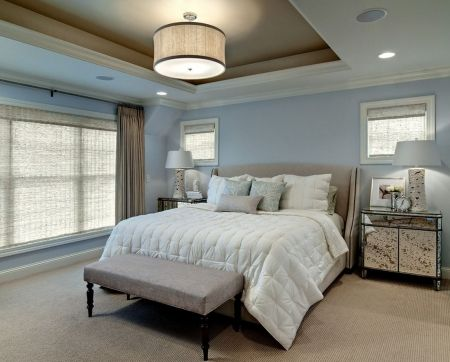 A mirrored bedside table adds class and sophistication to any bedroom and is a timeless style. Image inspiration c/o Lauren Liess on houzz.com - Complete Pad
