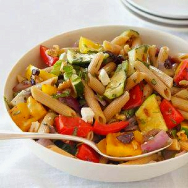 pasta with grilled vegetables and herbs | Recepten | Pinterest