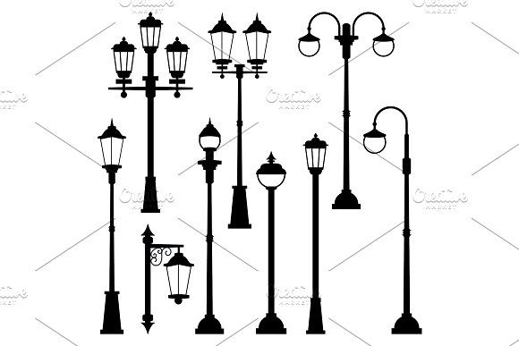 Old Street Lamps Set In Monochrome Style Vector Illustrations Isolate In 2020 Old Street Monochrome Fashion Street Lamp