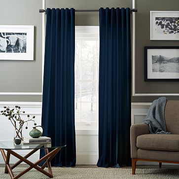 "4 x 96"" Guest Room | Velvet Pole Pocket Curtain - Regal Blue $79"