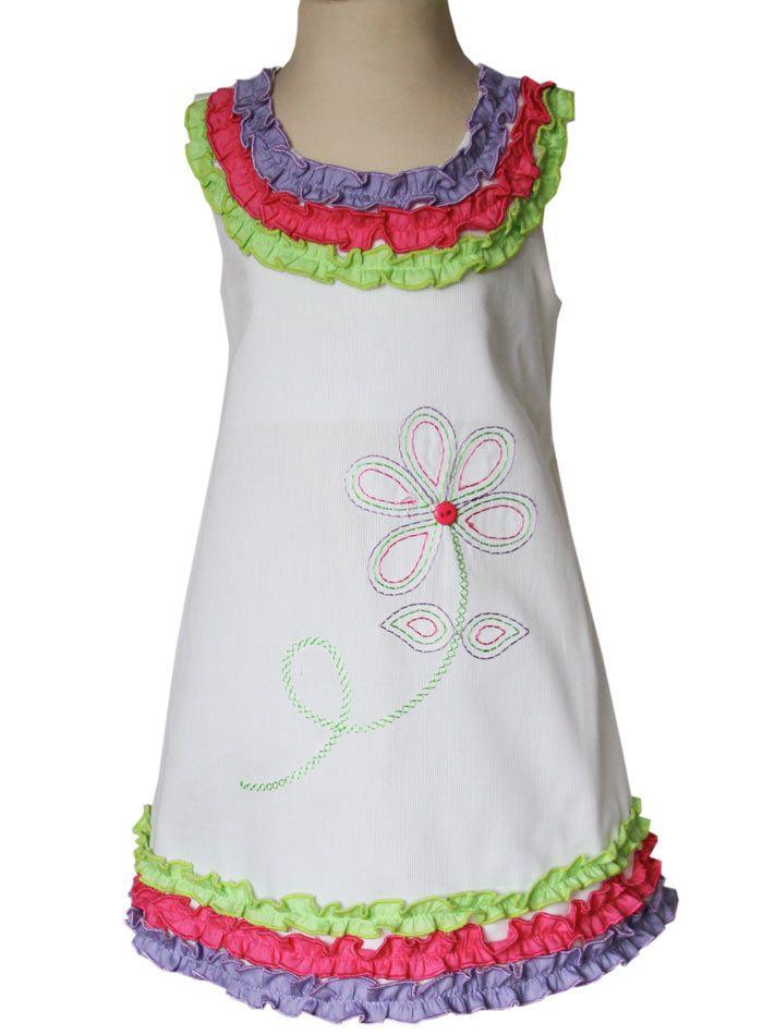 Little girls ruffle rainbow dress