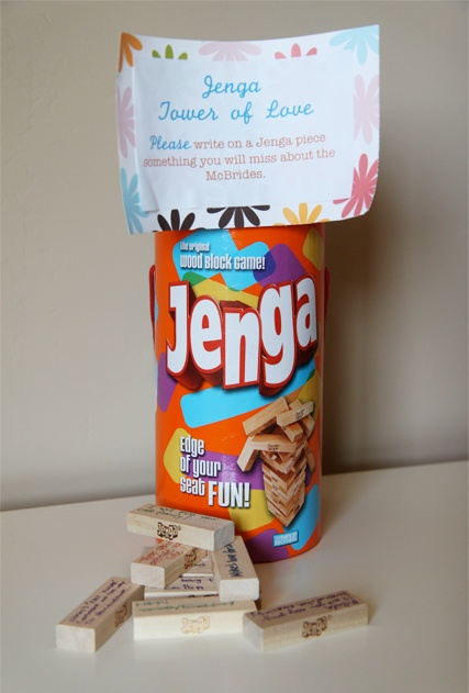 Write things you will miss about someone on Jenga pieces as a goodbye present.