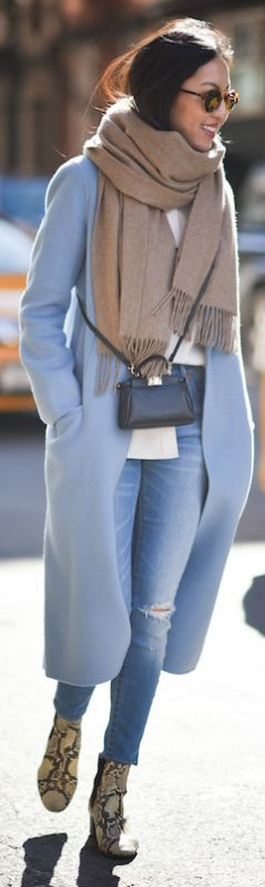 Pastel colours + perfect choice + winter look + Ann Taylor + baby blue + maxi coat + skinny jeans + faux snakeskin boots + shades Coat: Mute by JL, Blouse/Boots: Isabel Marant Etoile, Turtleneck: Uniqlo, Jeans: Madewell, Scarf: Everlane.