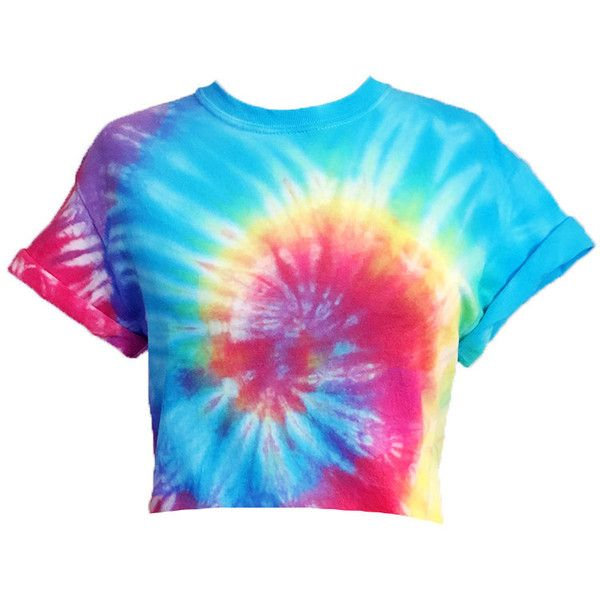 Tie Dye Crop Top Tiedye cropped tshirt -RainbowTie Dye Hand Dyed (57 ILS) ❤ liked on Polyvore featuring tops, t-shirts, tie dye t shirts, tie die t shirt, tie dye crop top, tye dye t shirts and crop tee