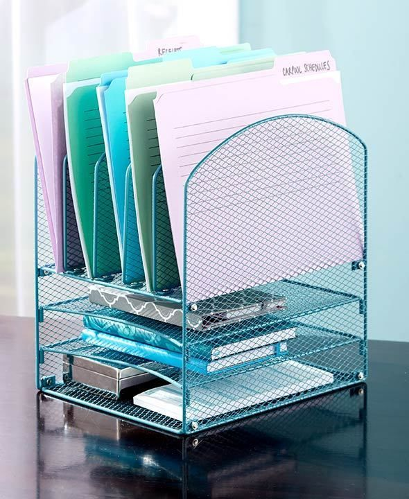 The Lakeside Collection Teal Desktop File Organizer #ad