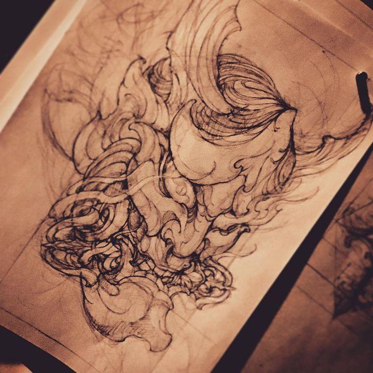 Hanya. #tattoo #art #tattooart #tattooartist #tattooworkers #tattooistartmag #newschooltattoo #japanesetattoo #seoultattoo #koreatattoo #hanya #sketch
