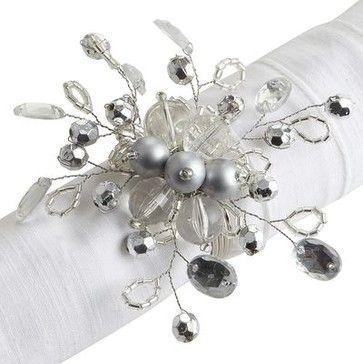 Beaded Napkin Ring, Silver contemporary-napkin-rings