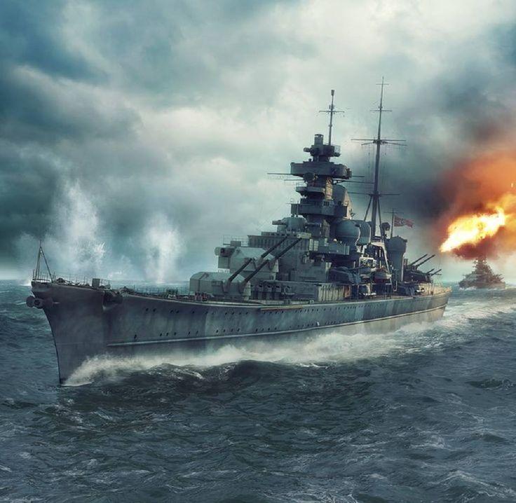 Prinz Eugen, dahinter wahrscheinlich Bismarck bei Unternehmen Rheinübung gegen Hood und prince of Wales.