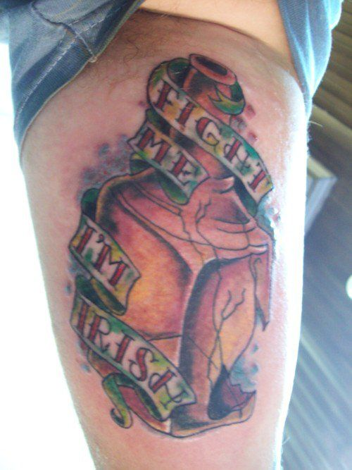 Fight me I'm Irish Whiskey bottle tattoo | Tattoos and Art ...