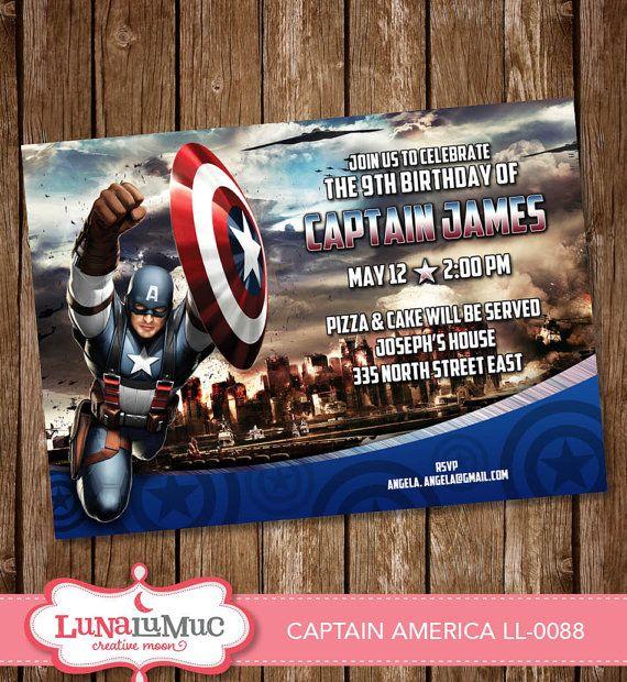 CAPTAIN AMERICA invitation Card, Party Invite, Birthday Card, digital file LL-0088