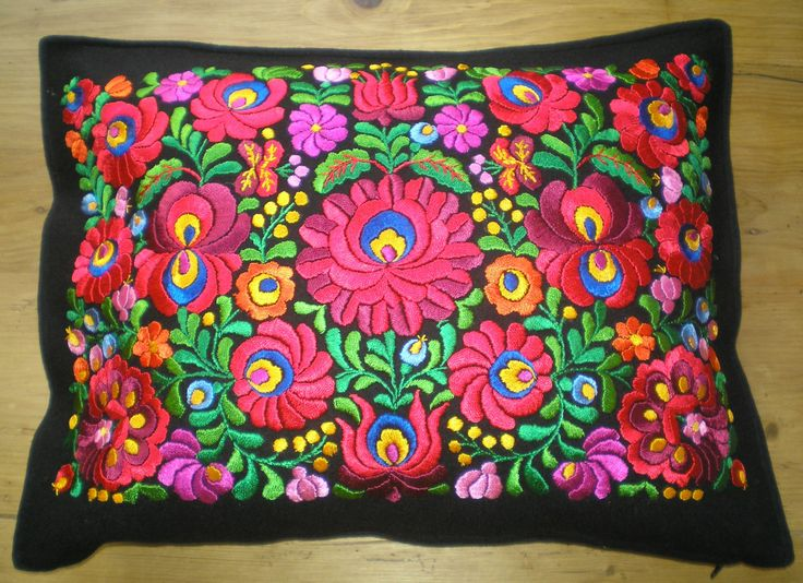 Embroidered matyó pillowcase from Hungary.