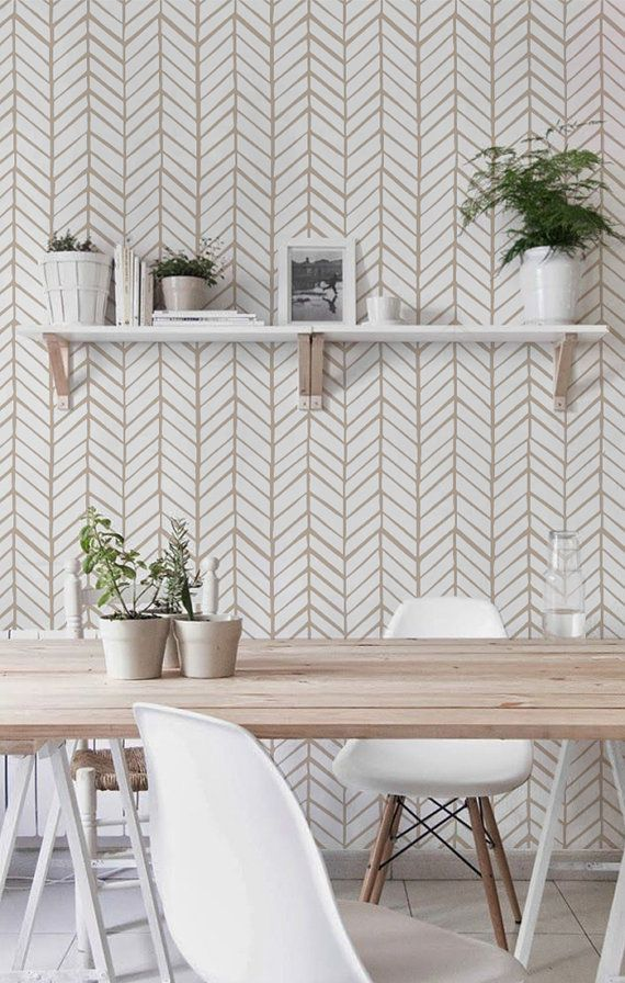 Self adhesive vinyl temporary removable wallpaper, wall decal - Chevron pattern print  - 026 WHITE/ CHAMPAGNE